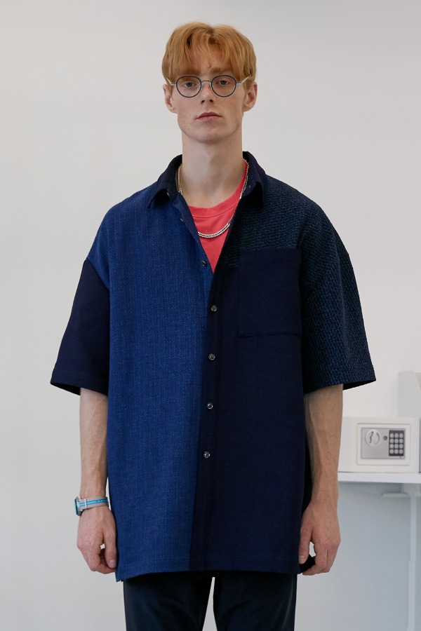 Oversized Multi Fabric Shirt_Indigo