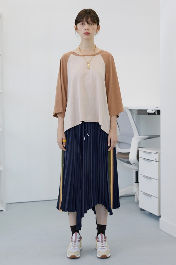 Chester Pleats Skirt_Deep Navy (3차 리오더)