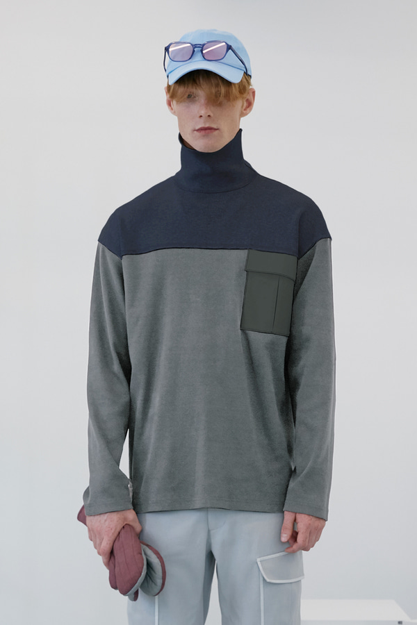 Rib Blocked Turtleneck_Melange Gray