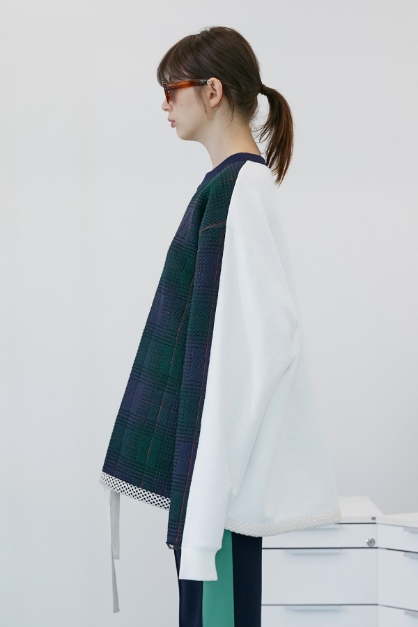Signature Check Sweatshirt_Green Check-White (2차 리오더)