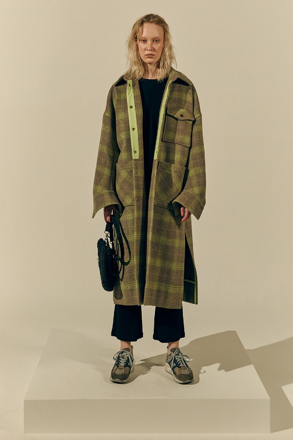 Curve Arm Scene Coat_Beige/Lime Check (1차 리오더 , 12월 17일 순차발송 )