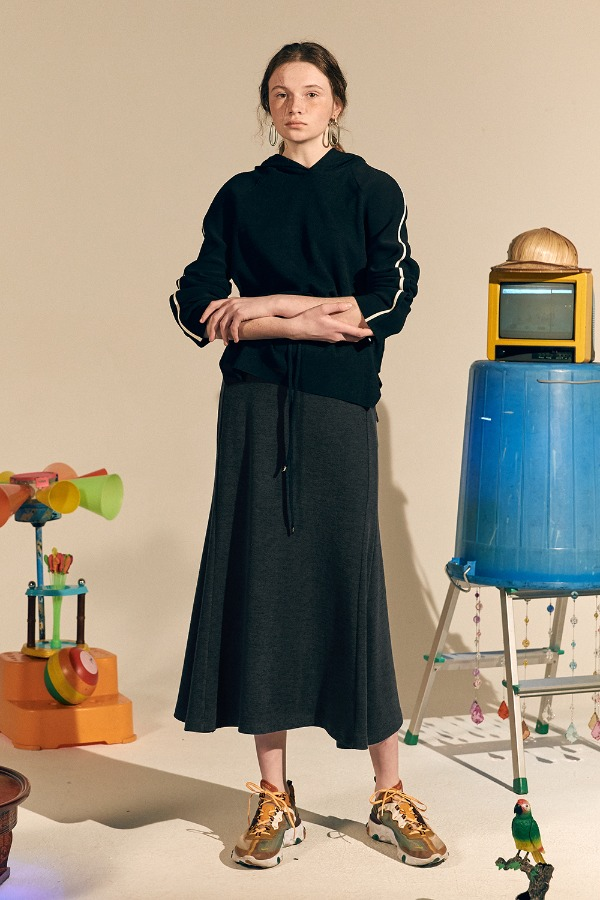 Winter Giselle Long Skirt_Melange Charcoal (1차 리오더)