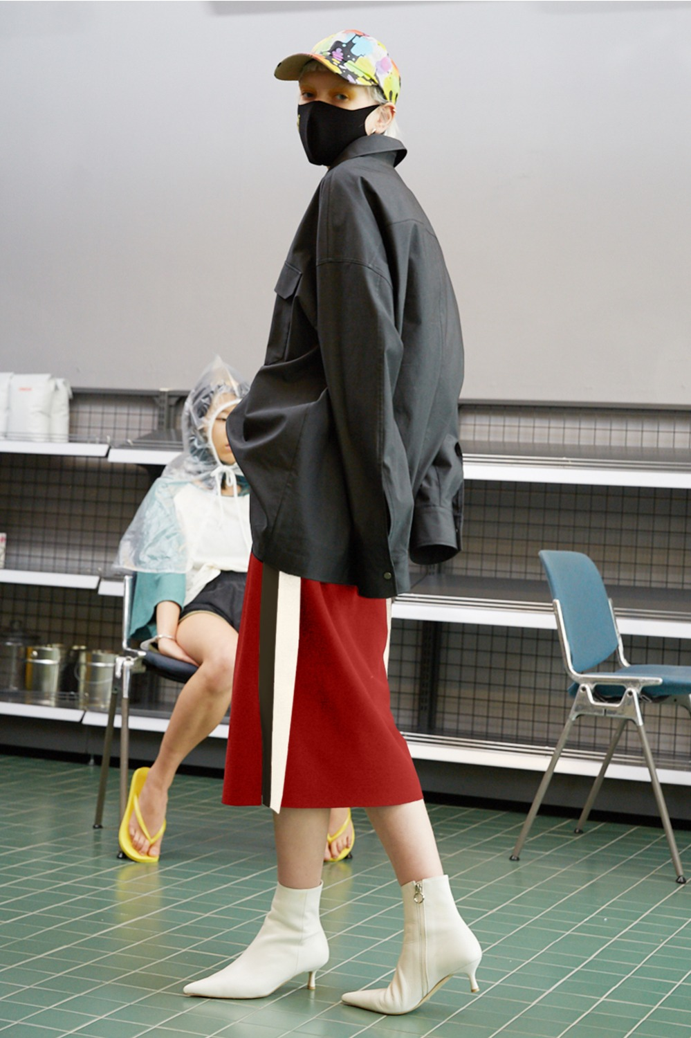 Flap Double Line Track Skirt_Sangria Red (1차 리오더)