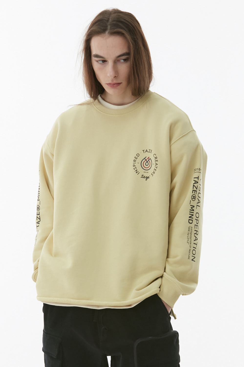 Kai Raw Hem Sweatshirt_Light Yellow (1차 리오더)
