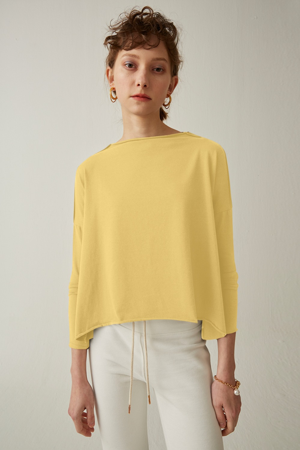Bonn Color Wide Tee_Cream Yellow