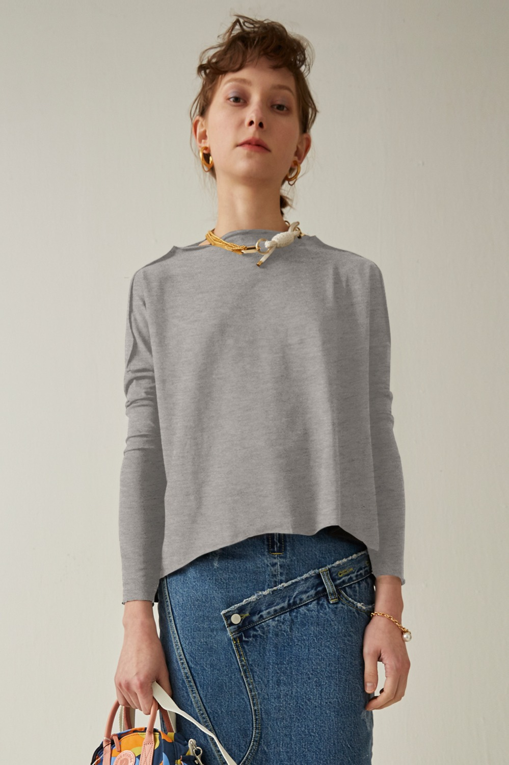 Bonn Color Wide Tee_Melange Gray