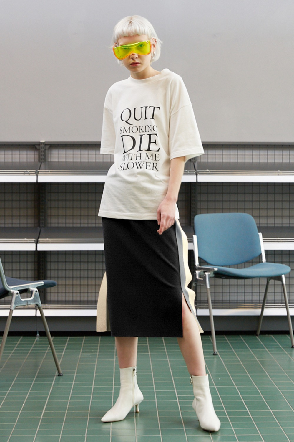 Flap Double Line Track Skirt_Black (1차 리오더)