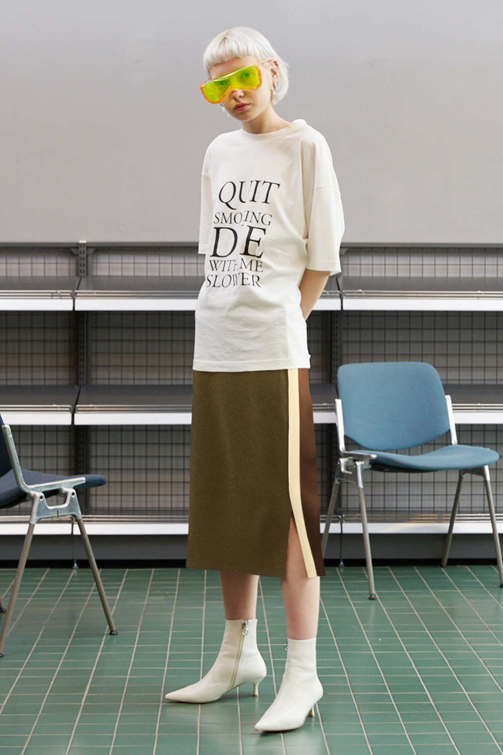 Flap Double Line Track Skirt_Khaki (1차 리오더)