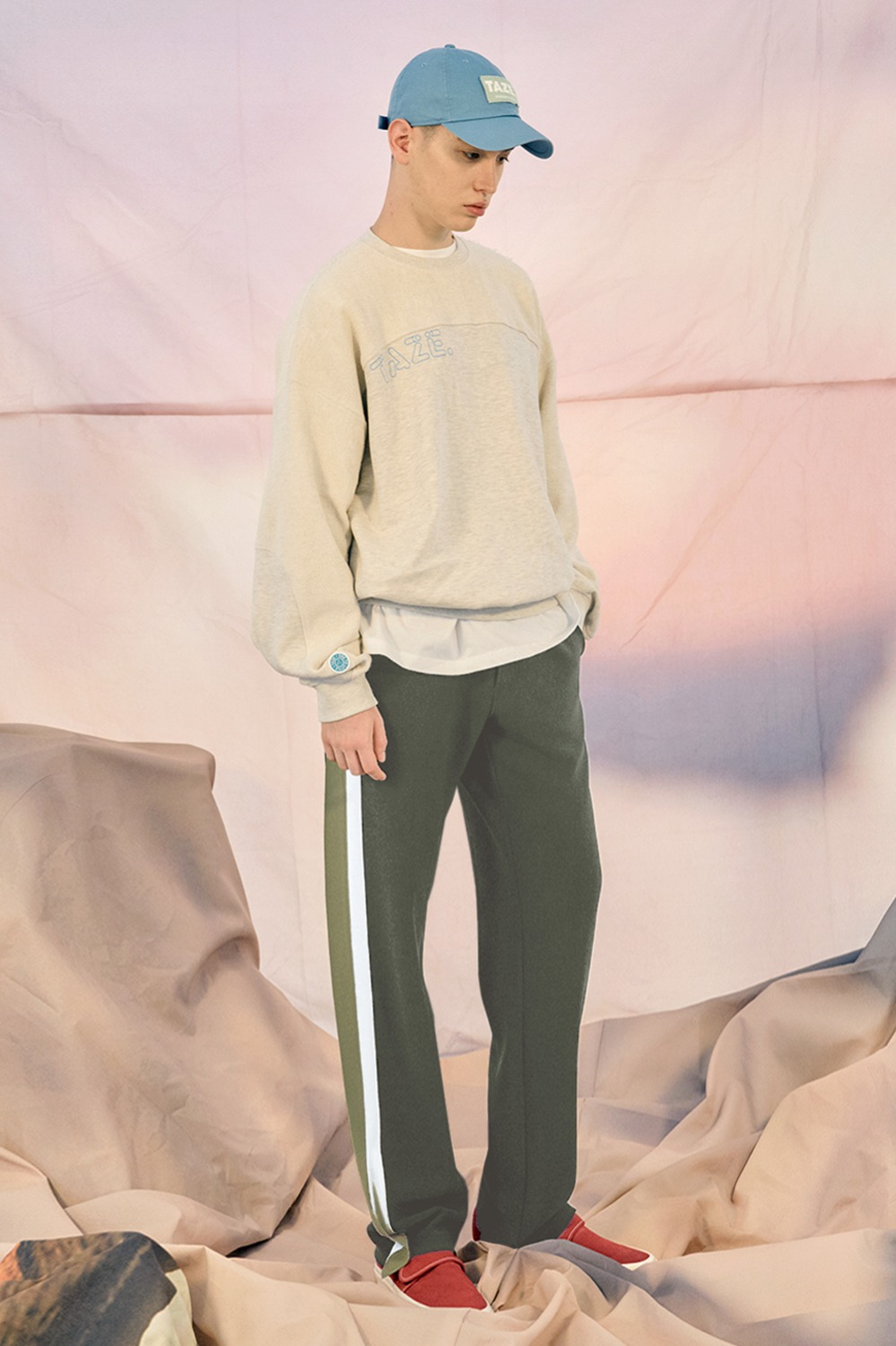 Men's Double Line Track Pants_Forest Green