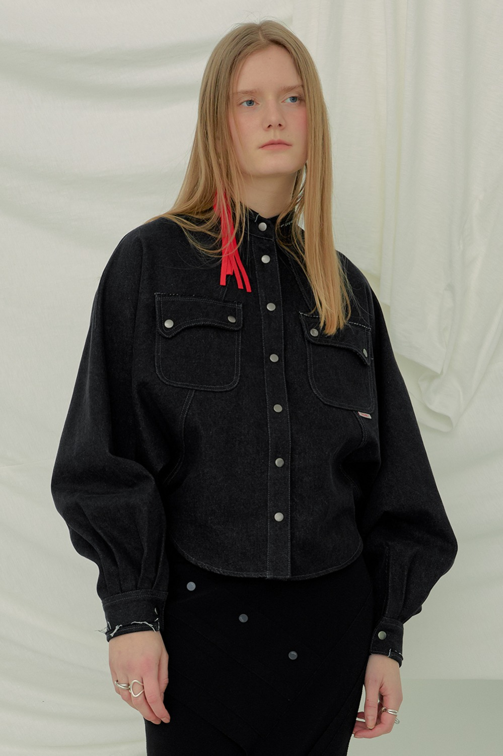Dolman Sleeve Denim Shirt_Black (1차 리오더)